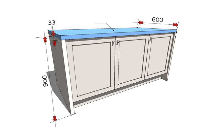 Chiều cao tủ bếp, chiều cao mặt đá bếp và sâu