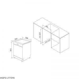 Máy rửa chén âm tủ hoàn toàn MALLOCA WQP12J7713FB 3