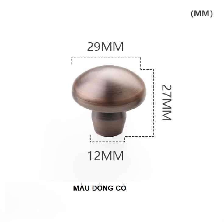 Núm tay nắm tủ hình nấm bằng đồng thau HTV62021 12