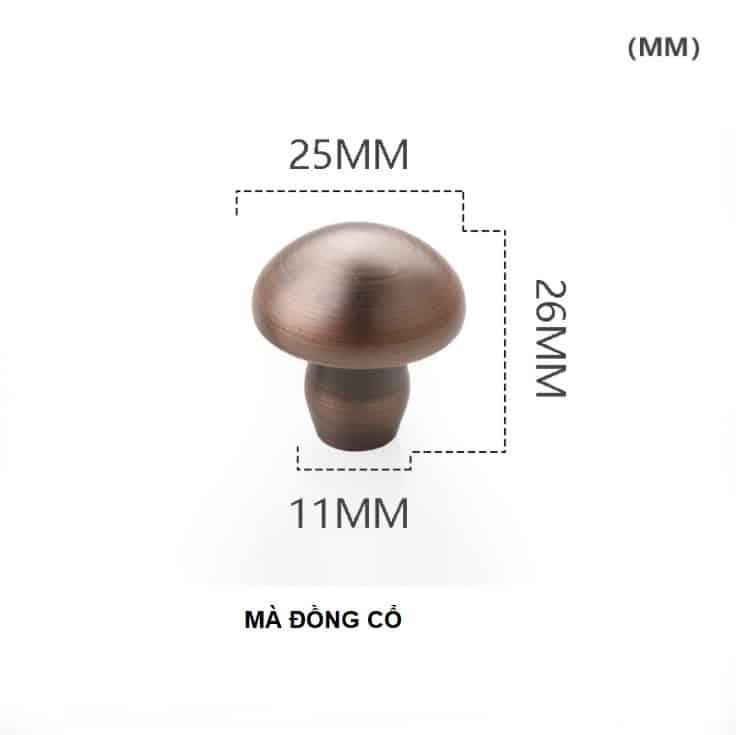 Núm tay nắm tủ hình nấm bằng đồng thau HTV62021 14