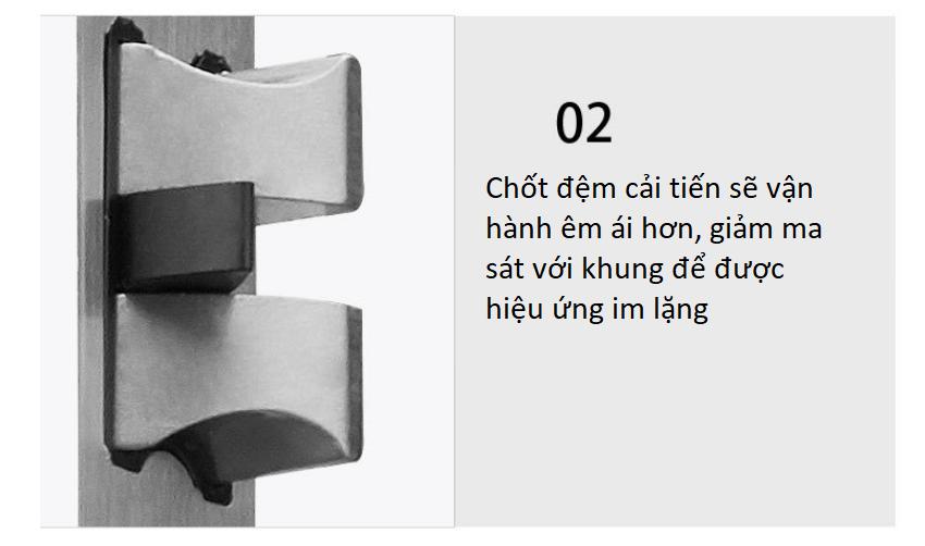 Ổ khóa cửa phòng ngủ hiện đại mạ chrome A689-70A 3